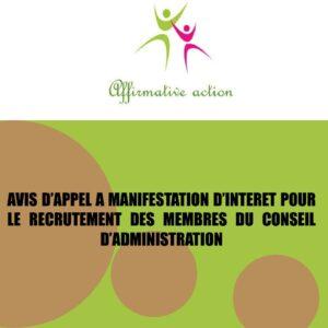 AVIS D'APPEL A MANIFESTATION D'INTERET POUR LE RECRUTEMENT DES MEMBRES DU CONSEIL D'ADMINISTRATION
